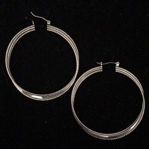 Lia Sophia silver twist hoop earrings